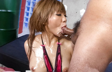 Hot Hazuki Rui with oiled body sucks woody