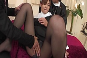 Asian milf gets busy with cock in hardcore threesome  Photo 11