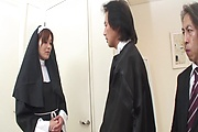 Hot Nun Hitomi Kanou Strip For Double Penetration Photo 1