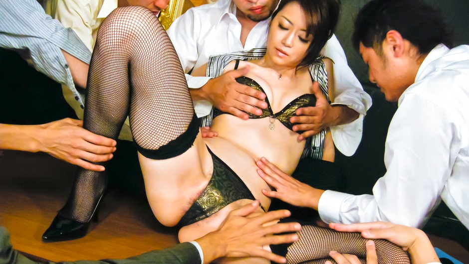Maki Hojo Gangbanged And Creampied In Her Thigh Highs