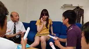 Moe Sakura gives guys a japan blowjob while masturbating