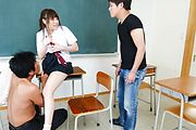 Sweet Yuri Sato gets stimulated in asian gang bang  Photo 11