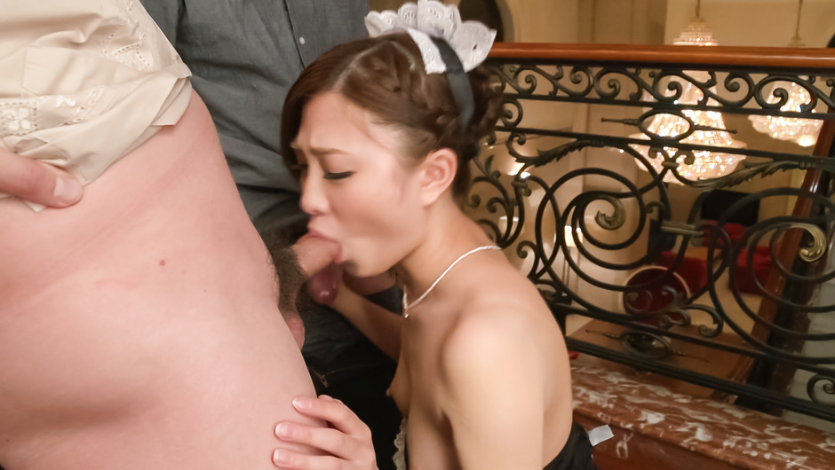 Double Asian blowjob by slim Maki Horiguchi