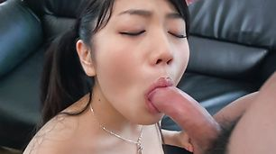 Slim beauty provides Asian blowjob on several cocks