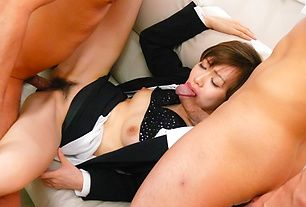 Two guys get the chance to creampie Akina Hara's hairy pussy