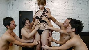 Gang bang with a japanese dildo and Rinka Aiuchi