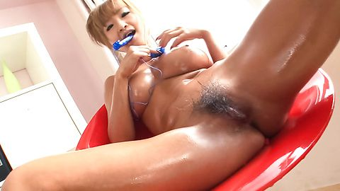 Eager and wet-dripping pussy rubbed and toyed