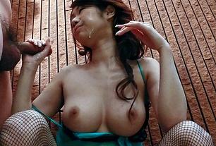Big Titted Huuka Takanashi Sucks Two Guys Off For A Facial