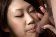 Big Titted Huuka Takanashi Sucks Two Guys Off For A Facial Photo 5