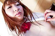 Schoolgirl Sakura Anna's Hairy Pussy Creamed In Uniform Photo 4