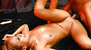 Oily Kyoko gives an asian blowjob and gets fucked hard