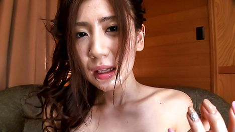 Girl in red panties endures Asian cum shot on face