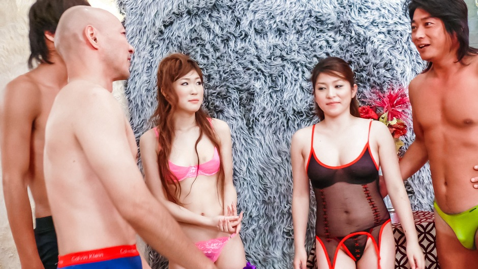 Two guys ravage av girl Mirai Haneda in black lingerie