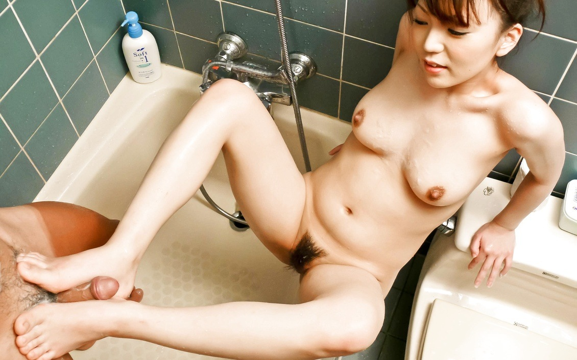 Bathroom blowjob with hand, feet and tits fucking from Asuka Ayanami