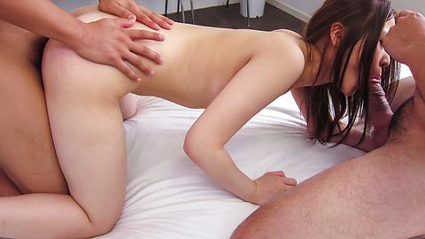 Rena Arai - Sweet Asian blow job along Rena Arai in threesome - Picture 11