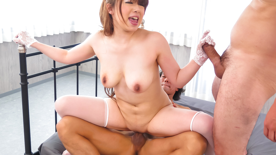 Strong hardcore trio along babe in Japanese stockings