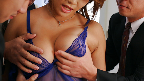 Rui Horie - Three cocks fuck Rui Horie deep and hard with double action - Picture 4