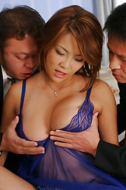 Rui Horie - Three cocks fuck Rui Horie deep and hard with double action - Picture 5