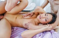 Ren Azumi has asian anal sex in a DP threesome