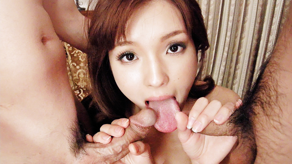 Mei Haruka pretty and petite handles two cocks