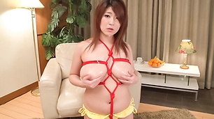 Rina Araki ends massive oral play with cum on her Asian tits