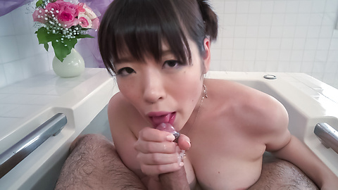 Nao Mizuki amazing Asian blowjob on man's big dong