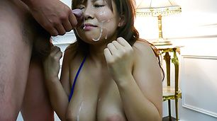 Konatsu Aozona big tits MILF sucks on multiple dicks