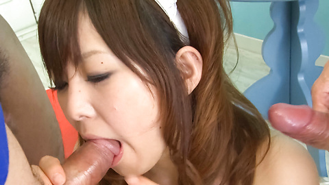 Miku Airi - Horny asian maid blowjob for two from Miku Airi - Picture 12