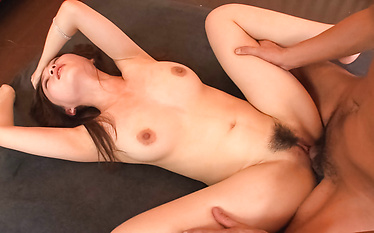Raven-haired Asian cute giving head and cum swallowing