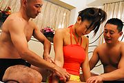 Big tits Japanese beauty gets ravished in threesome Photo 1