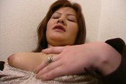 Big tits Japanese babe goes wild on a fat dong Photo 12