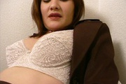 Big tits Japanese babe goes wild on a fat dong Photo 5