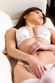 Nao - Sexy Nao in white lingerie fondles her boobs - Picture 11
