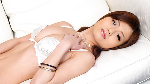 Nao - Sexy Nao in white lingerie fondles her boobs - Picture 2