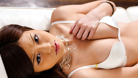 Nao - Sexy Nao in white lingerie fondles her boobs - Picture 8