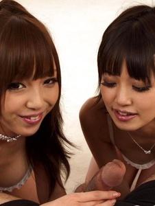 Kotomi - Cock jerking babes Anri and Kotomi swallowing their boy friend's hard tool - Screenshot 10