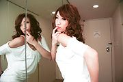 Aya Sakuraba in sexy dress gives double blow job Photo 9